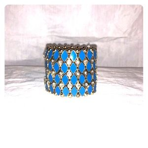 Wide Blue and gold stretch bracelet